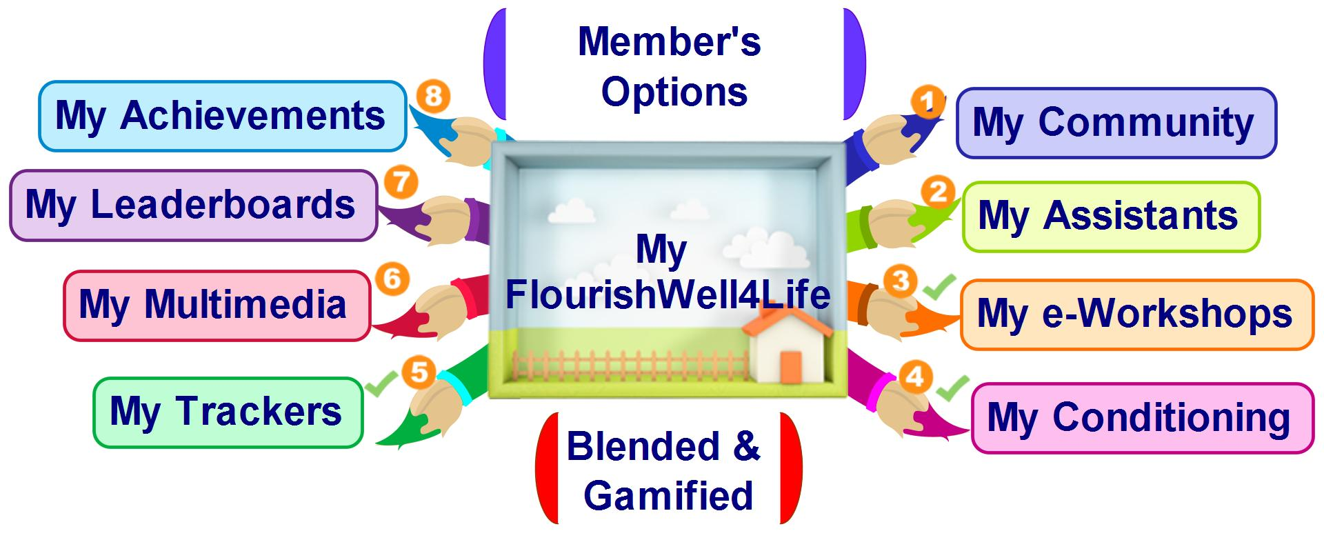 my flourishwelllife options jpeg the options available on each member s individualized site are summarized in the picture below and explained in more detail thereafter
