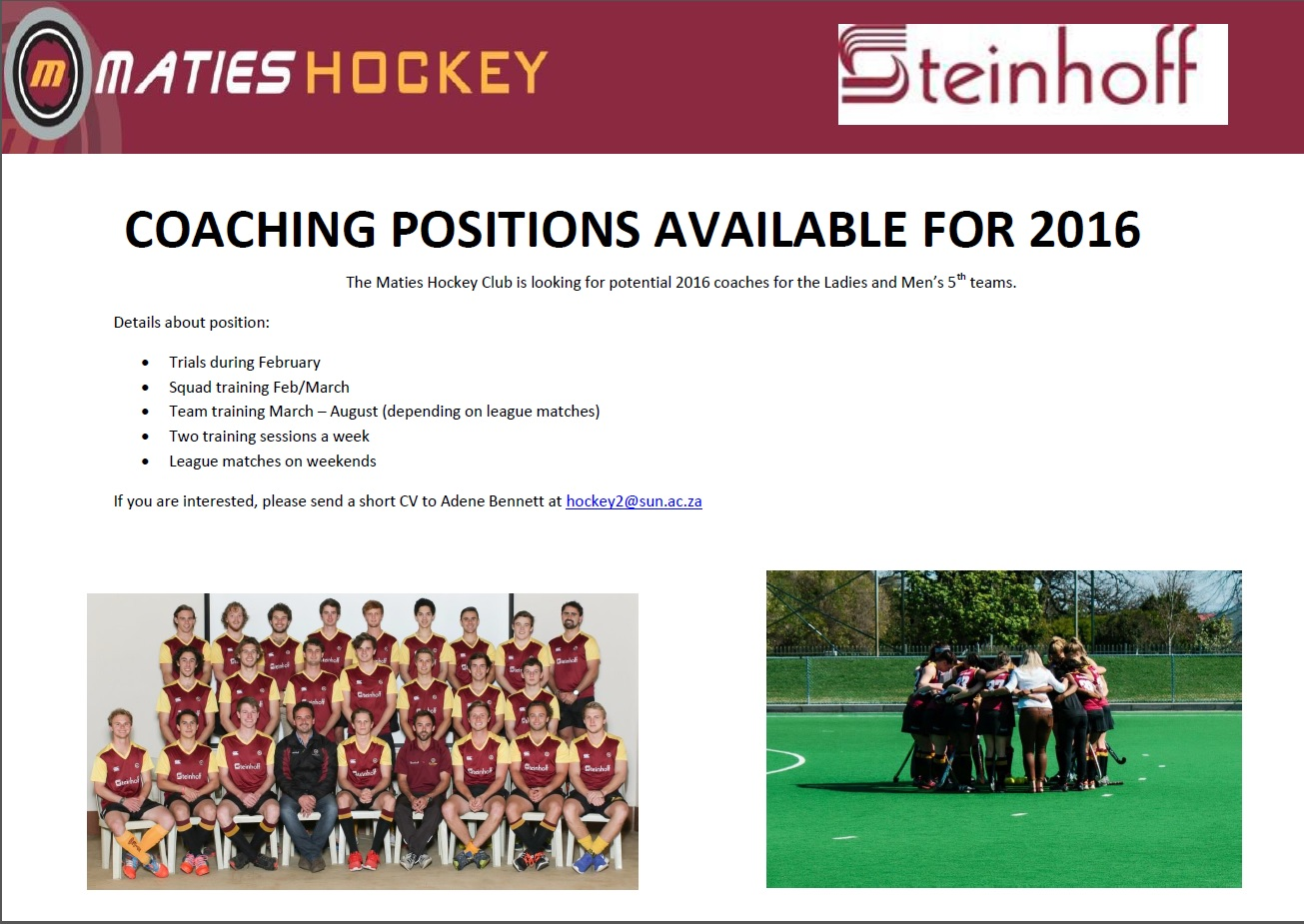 coaching positions available for 2016 maties hockey club