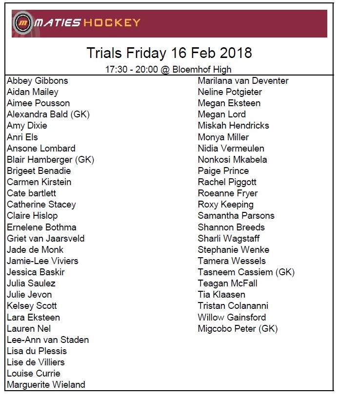 Trials ladies 16 Feb