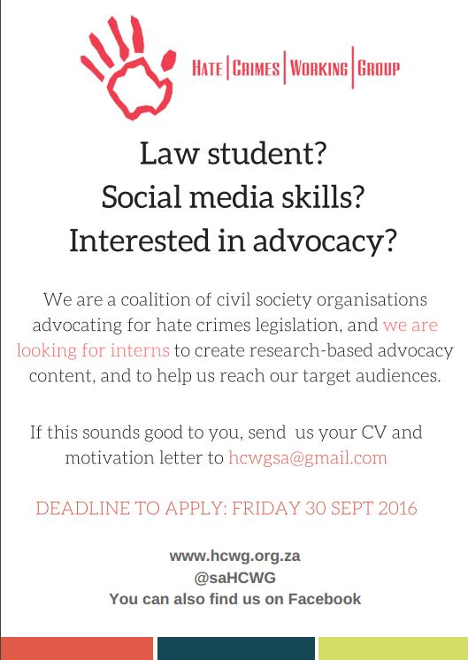 Advocate for Hate Crimes Legislation