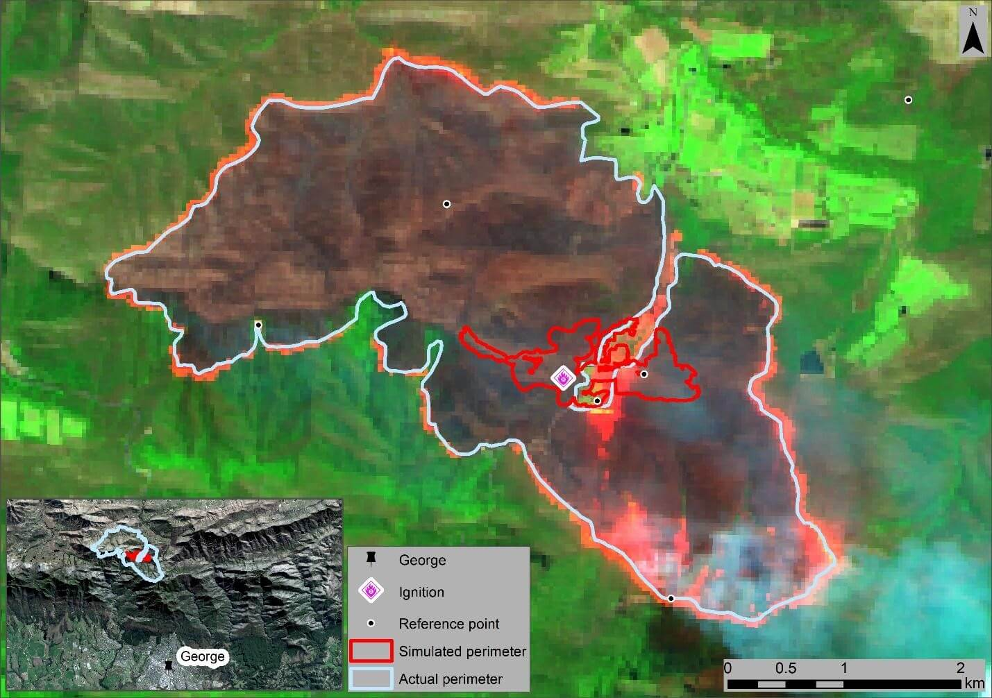 Figure 1 Predicted vs actual spread on the 25th of October 2018. The simulated perimeter is red, and the actual perimeter is light blue. Reference points used for the accuracy assessment are black dots with a white outline. The Sentinel-2 image, captured on 25 October 2018, is displayed as a Red, Green, Blue image where Red = Band 12, Green = Band 8A, and Blue = Band 4.
