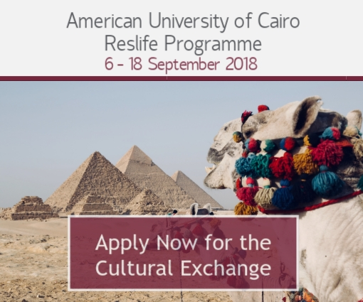 Click here to apply for the AUC Reslife Programme, a Cultural Exchange