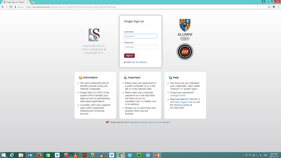 Landing Page of Login Page for SU Credentials