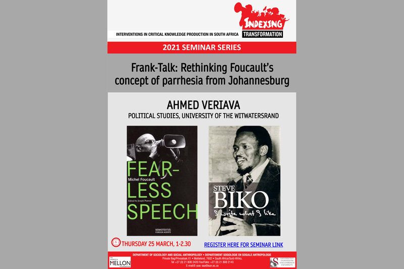 Frank-Talk: Rethinking Foucault's concept of parrhesia from Johannesburg (Ahmed Veriava)