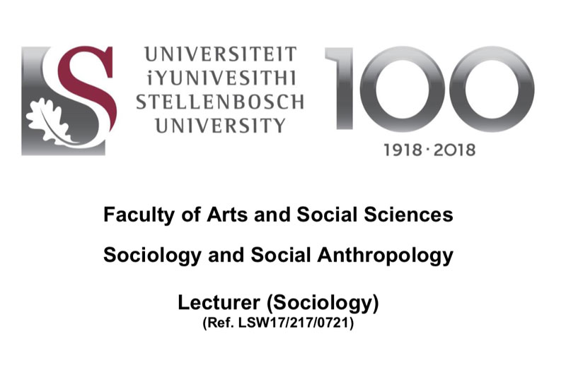 Vacancy: Lecturer (Sociology) – CLOSING DATE 23 August 2021